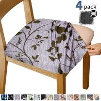 Gute Chair Seat Covers, Stretch Printed Chair Covers with Elastic Ties and Button, Removable Washable Dining Upholstered Chair Protector Seat Cushion Slipcovers for Dining Room, Office(Purple)
