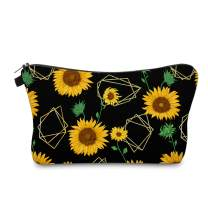 Cute Travel Makeup Bag Cosmetic Bag Small Pouch Gift for Women (Sunflowers Black)