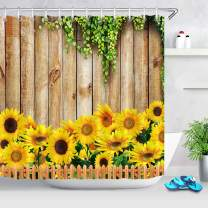LB Rustic Sunflower Shower Curtain Farmhouse Style Yellow Sunflowers with Green Leaves Shower Curtain Plants on Country Wood Backdrop for Nature Bathroom 72x72 Inch Polyester Fabric with 12 Hooks