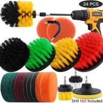 BOEEA 24 Pcs Drill Brush Attachment Set for Cleaning - Power Scrubber Brush Pad Sponge Kit with Extend Attachment for Bathroom, Car, Grout, Carpet, Floor, Tub, Shower, Corners, Tile, Kitchen