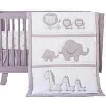 Grey Jungle Animal Themed Safari Chevron 3 Piece Baby Crib Bedding Set
