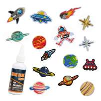 SEWOR Embroidered Patch DIY Accessory Appliques with Professional Fabric Glue, Sew On/Iron On Patches,Decoration & Repair for Clothing, Backpacks, Jeans, Caps, Shoes (Cosmos)