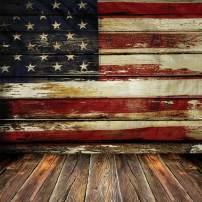 SJOLOON 8X8ft Veterans Day Backdrop Vinyl Fabric Photography Backdrops American Flag Patriotic Wood Floor for Studio 10697