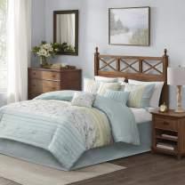 "Madison Park Serene Faux Silk Comforter Floral Embroidery Design All Season Set, Matching Bed Skirt, Decorative Pillows, Cal King(104""x92""), Aqua 7 Piece"