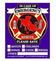 "PET FIRE Rescue Top Rated Trademarked Safety Alert Emergency Pet Dog Cat 4"" x 5"" Behind The Glass or Front of Surface Window Decal Cling Sticker (Qty. 4 Behind Glass from TLC)"