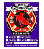"""PET FIRE Rescue Top Rated Trademarked Safety Alert Emergency Pet Dog Cat 4"""" x 5"""" Behind The Glass or Front of Surface Window Decal Cling Sticker (Qty. 4 Behind Glass from TLC)"""