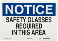 "Brady 22629 14"" Width x 10"" Height B-401 Plastic, Blue and Black on White Eye Protection Sign, Header ""Notice"", Legend ""Safety Glasses Required In This Area"""