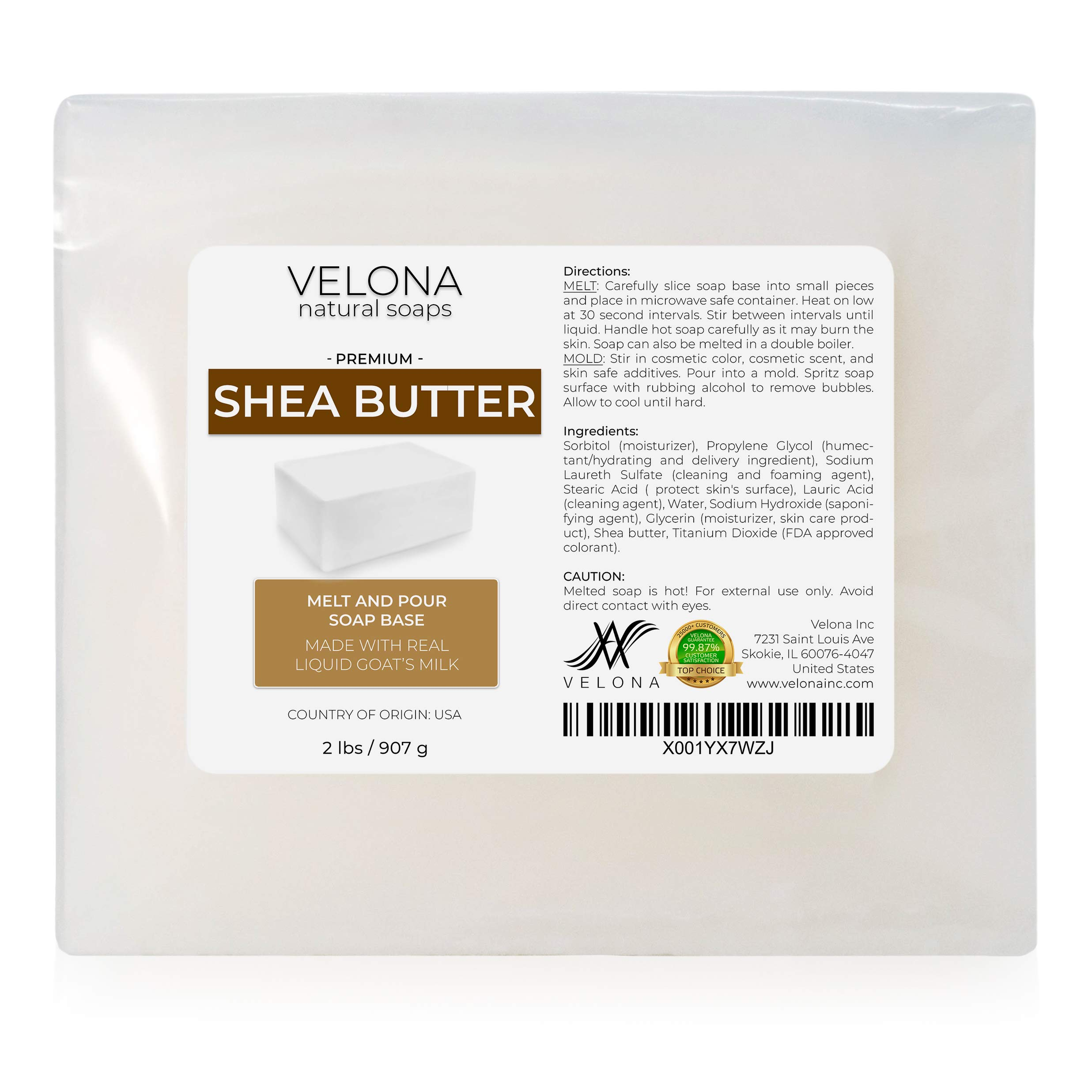 2 LB - Shea Butter - Melt and Pour Soap Base by Velona | Natural Bars for The Best Result for Soap-Making