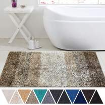 DEARTOWN Non-Slip Shaggy Bathroom Rug,Soft Microfibers Bath Mat with Water Absorbent, Machine Washable(Multicolor-Brown,24x39 Inches)