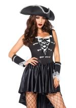 Leg Avenue Women's 3 Piece Captain Black Heart Pirate Costume