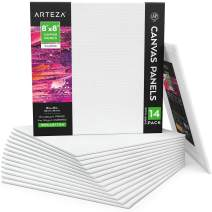 """Arteza 8x8"""" White Blank Square Canvas Panels Boards, Bulk Pack of 14, Primed, 100% Cotton for Acrylic Painting, Oil Paint & Wet Art Media, Canvases for Professional Artist, Hobby Painters & Beginners"""