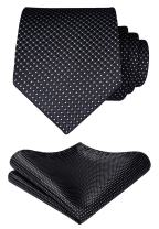 HISDERN Plaid Solid Tie Handkerchief Woven Classic Checkered Men's Necktie & Pocket Square Set