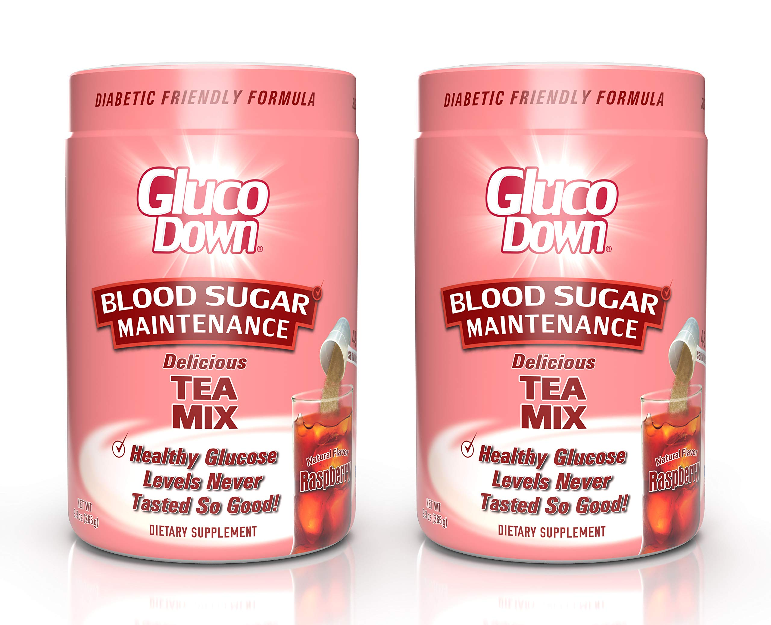 2-Pack, GlucoDown Diabetic Friendly Beverage, Maintain Healthy Blood Sugar, Delicious Raspberry Tea (Two 45-Serving Containers)