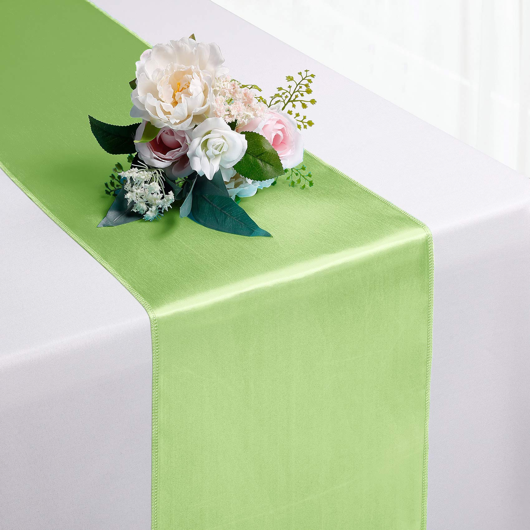 Hahuho 1-Pack Satin Table Runner Apple Green 12 x 108 inches Long, Table Runners for Wedding, Birthday Parties, Banquets Decorations(1 Pack, 12x108 Inch, Apple Green)