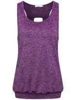 Faddare Women's Comfy Round Neck Open Back Burnout Workout Yoga Tank Tops Shirt
