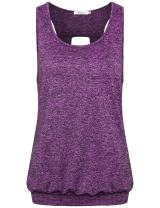 Faddare Women's Comfy Round Neck Open Back Burnout Workout Yoga Tank Tops Shirt,Purple L