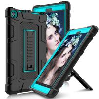 Kindle Fire 8 2018 Case, Fire HD 8 2017 Case with Stand, Elegant Choise Heavy Duty Shockproof Armor Full Body Rugged Protective Case Cover for Amazon Kindle Fire 8 2017(Blue)