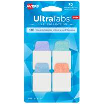 "AVERY Mini Ultra Tabs, 1"" x 1.5"", Pastel Sparkle Shimmer Designs, 32 Repositionable Page Tabs (74149)"
