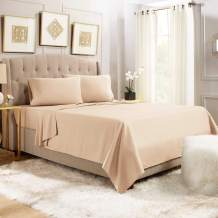"""Empyrean Bedding 14"""" - 16"""" Deep Pocket Fitted Sheet 4 Piece Set - Hotel Luxury Soft Double Brushed Microfiber Top Sheet - Wrinkle Free Fitted Bed Sheet, Flat Sheet and 2 Pillow Cases - Cal King, Taupe"""