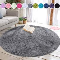 junovo Round Fluffy Soft Area Rugs for Kids Girls Room Princess Castle Plush Shaggy Carpet Cute Circle Nursery Rug for Kids Baby Girls Bedroom Living Room Home Decor Small Circular Carpet, 4ft Grey