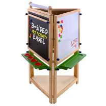 U.S. Art Supply Children's 3-Sided Art Activity Easel with Chalkboard, Large Paper Roll, Shelf & Plastic Paint Cups