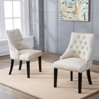DAGONHIL Fabric Dining/Accent Chairs (Set of 2) with Black Solid Wooden Legs,Nailed Trim (Beige)