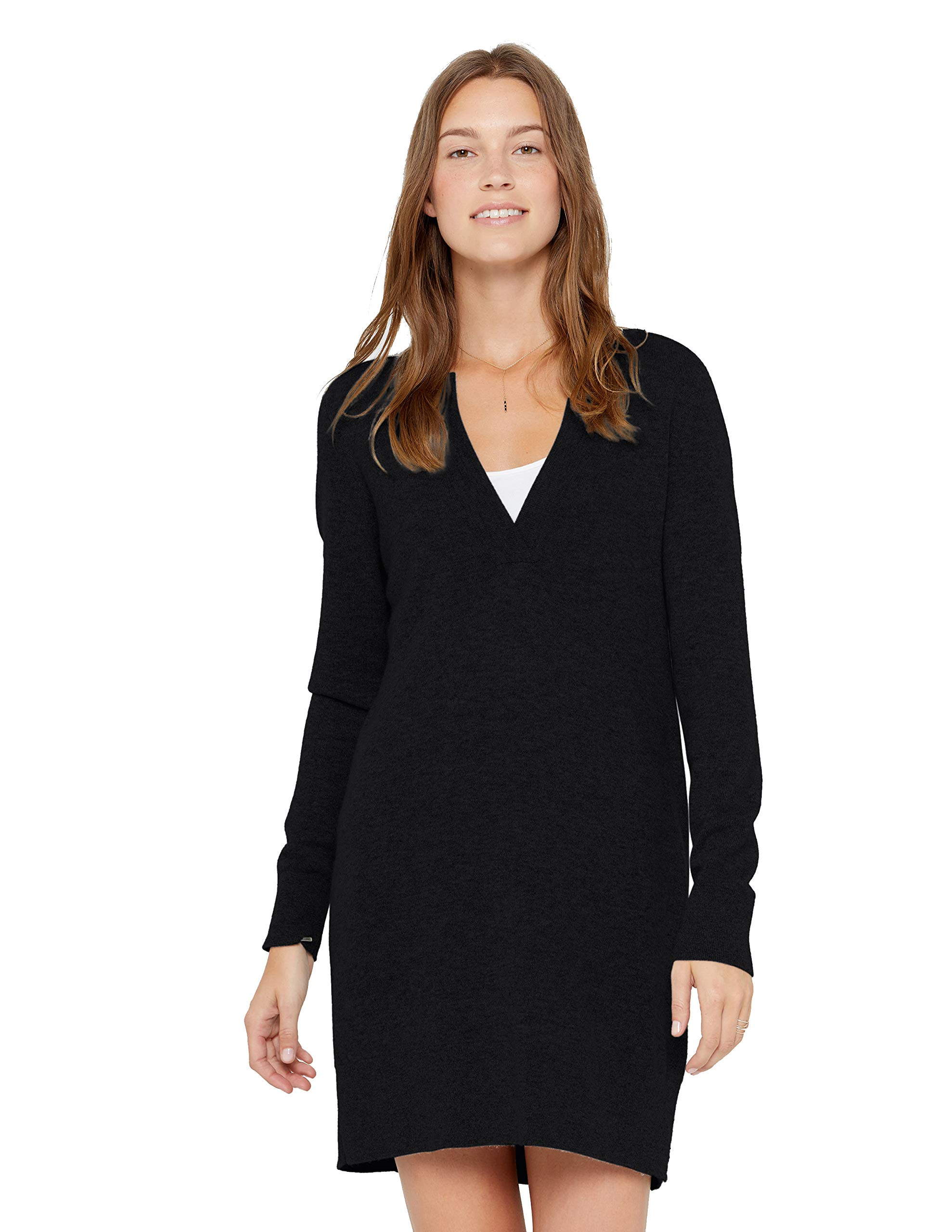 State Cashmere V-Neck Sweater Dress 100% Pure Cashmere Long Sleeve Pullover Tunic for Women (Medium, Black)