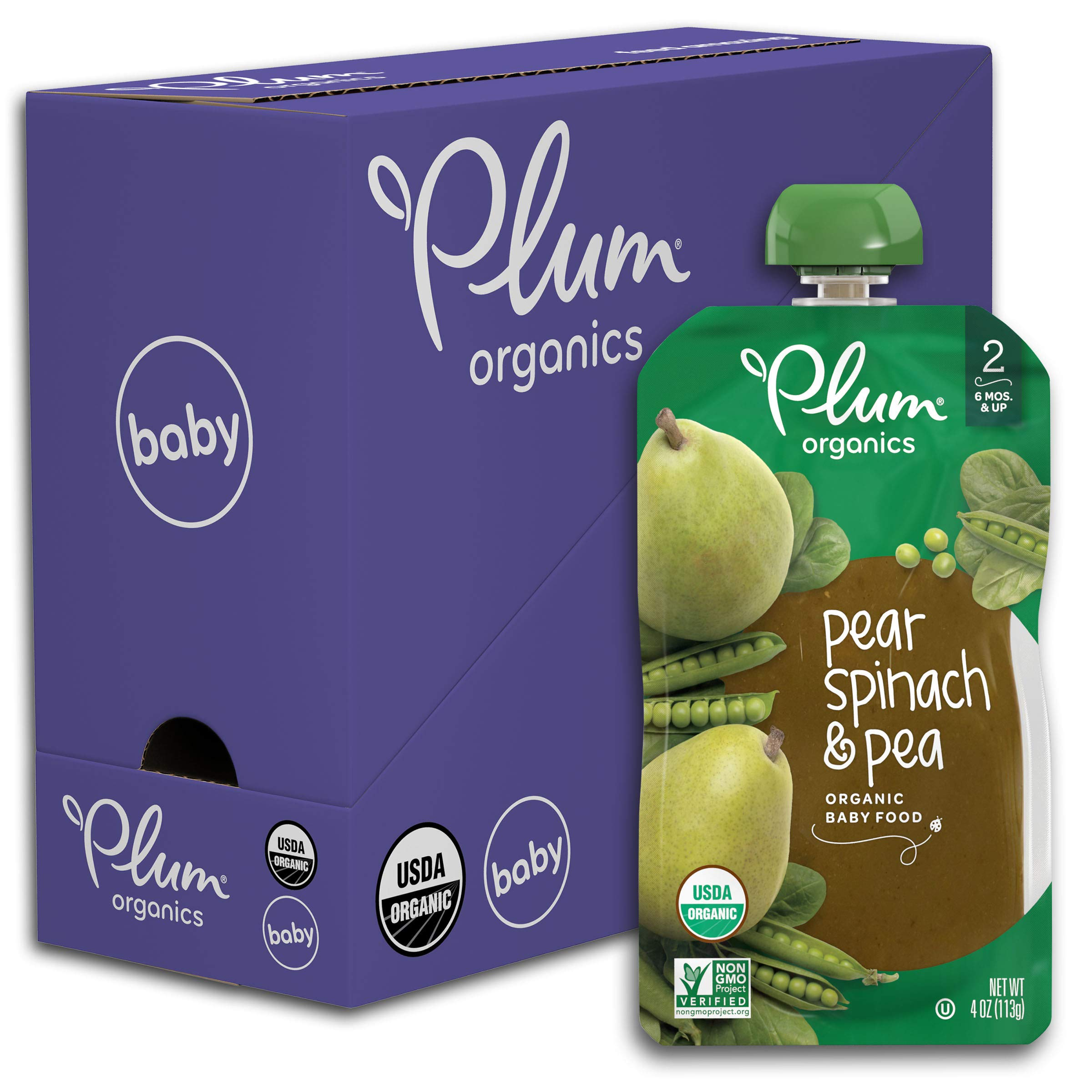 Plum Organics Stage 2, Organic Baby Food, Pear, Spinach and Pea, 4 Ounce pouches (Pack of 6)