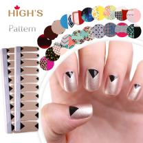 HIGH'S EXTRE ADHESION 20pcs Nail Art Transfer Decals Sticker Pattern Series The Cocktail Collection Manicure DIY Nail Polish Strips Wraps for Wedding,Party,Shopping,Travelling (Focus)