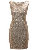 Regna X Women Sexy Deep V Neck Sequin Glitter Cocktail Mini Party Dress Gold M