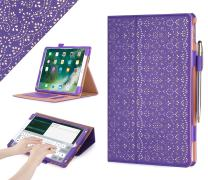 """WWW Case for iPad Air 10.5"""" (3rd Gen) 2019/iPad Pro 10.5"""" 2017, [Luxury Laser Flower] Premium PU Leather Case Protective Cover with Auto Wake/Sleep Feature,Multiple Viewing Angles–Purple"""
