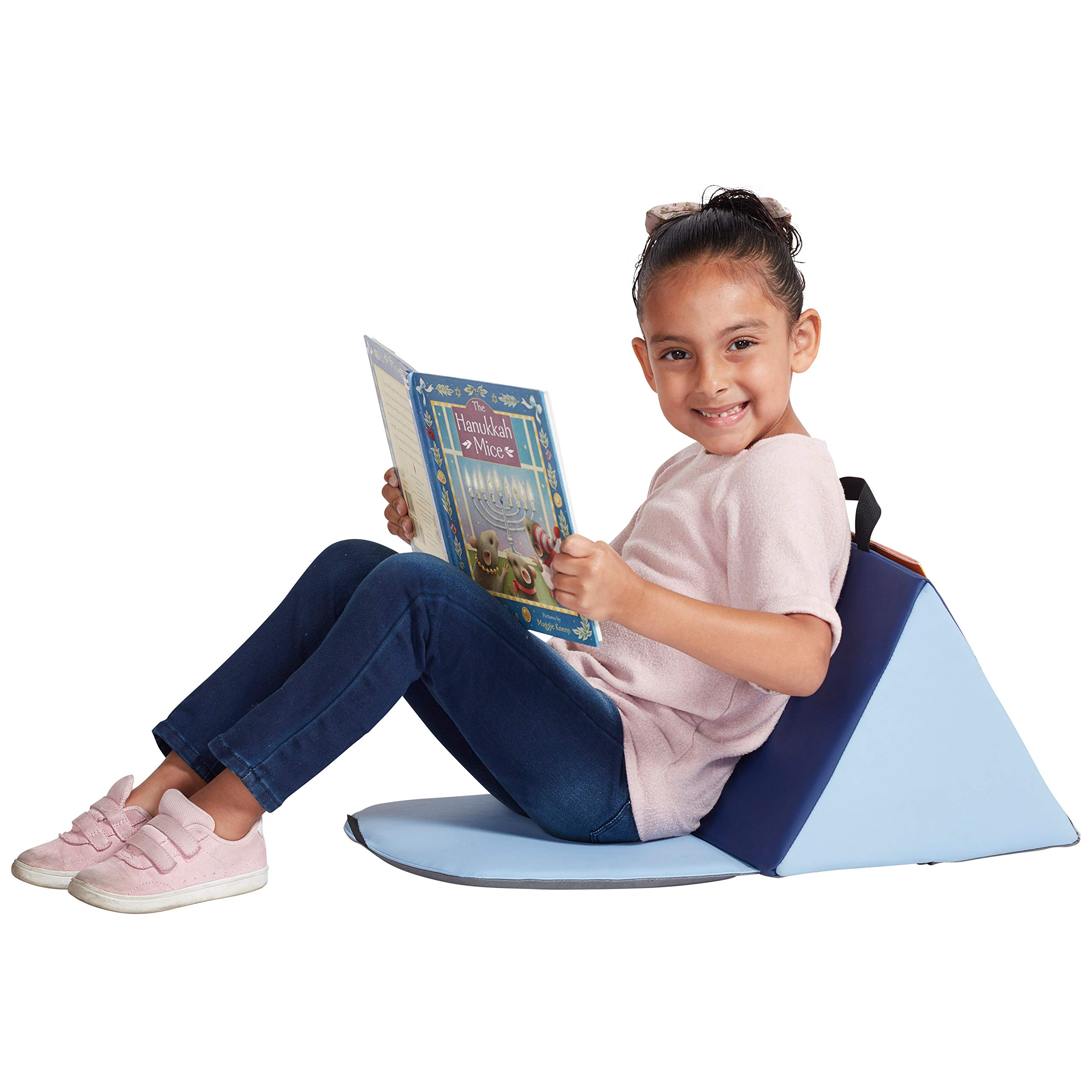 ECR4Kids SoftZone Carry Me Soft Seat with Storage Book Pocket and Handle - Portable Folding Seat/Reading Cushion for Kids and Toddlers, Navy/Powder Blue