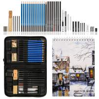 K Kwokker Drawing Pencils and Sketch Set, Art Supplies 41pcs Artist Kit with Graphite Pencil, Pastel Pencil, Charcoal Pencil, Charcoal and Graphite Stick, Eraser, Sharpener, Book for Adults Kids
