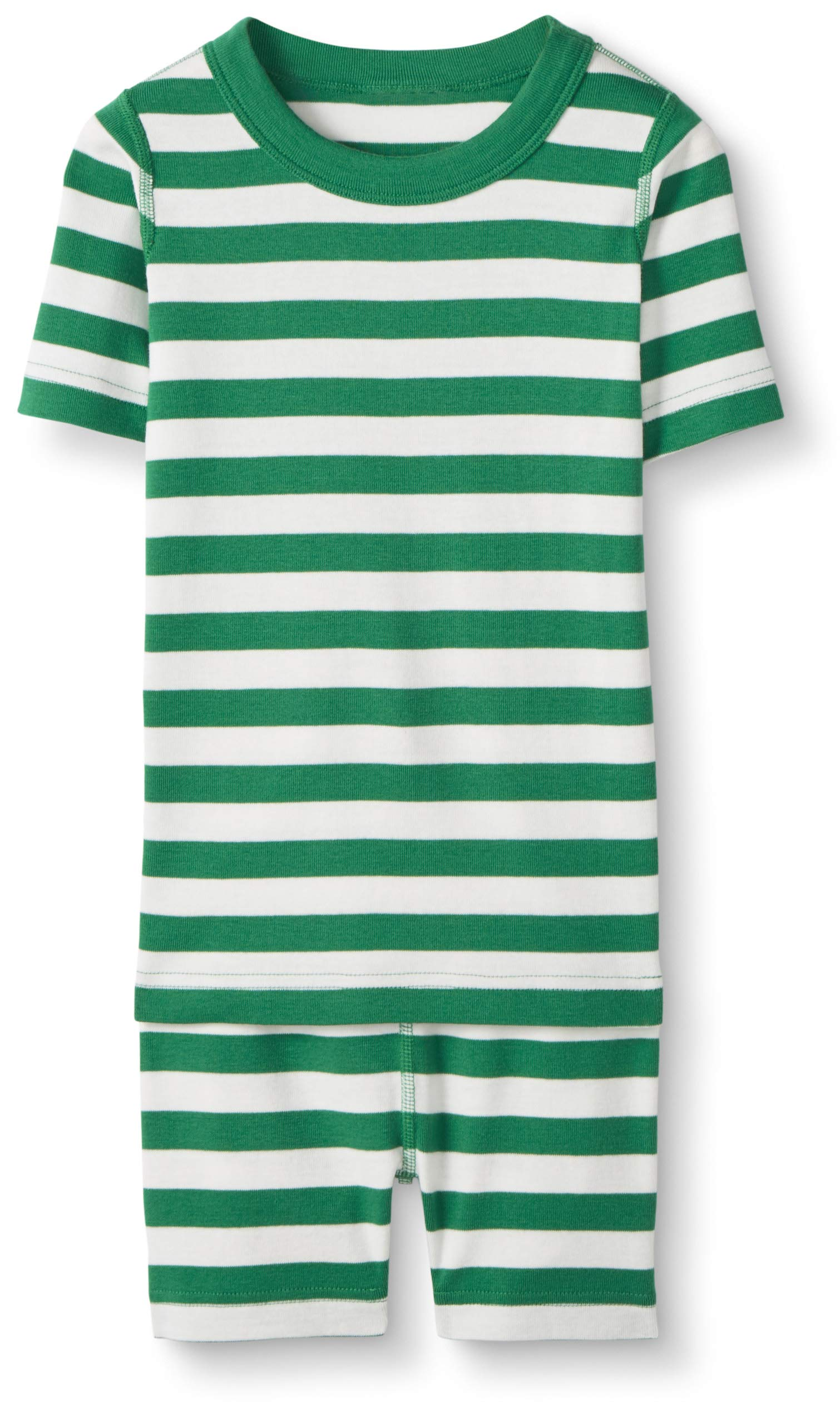 Hanna Andersson Kids Short Sleeved Pajamas in Organic Cotton, Go Green/Hanna White, Size 90 cm