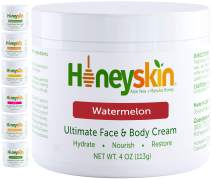 Organic Face and Body Moisturizing Skin Cream - with Manuka Honey and Coconut Oil - Anti Aging - Firming and Hydrating Facial Moisturizer - Natural Watermelon Scent (4oz)