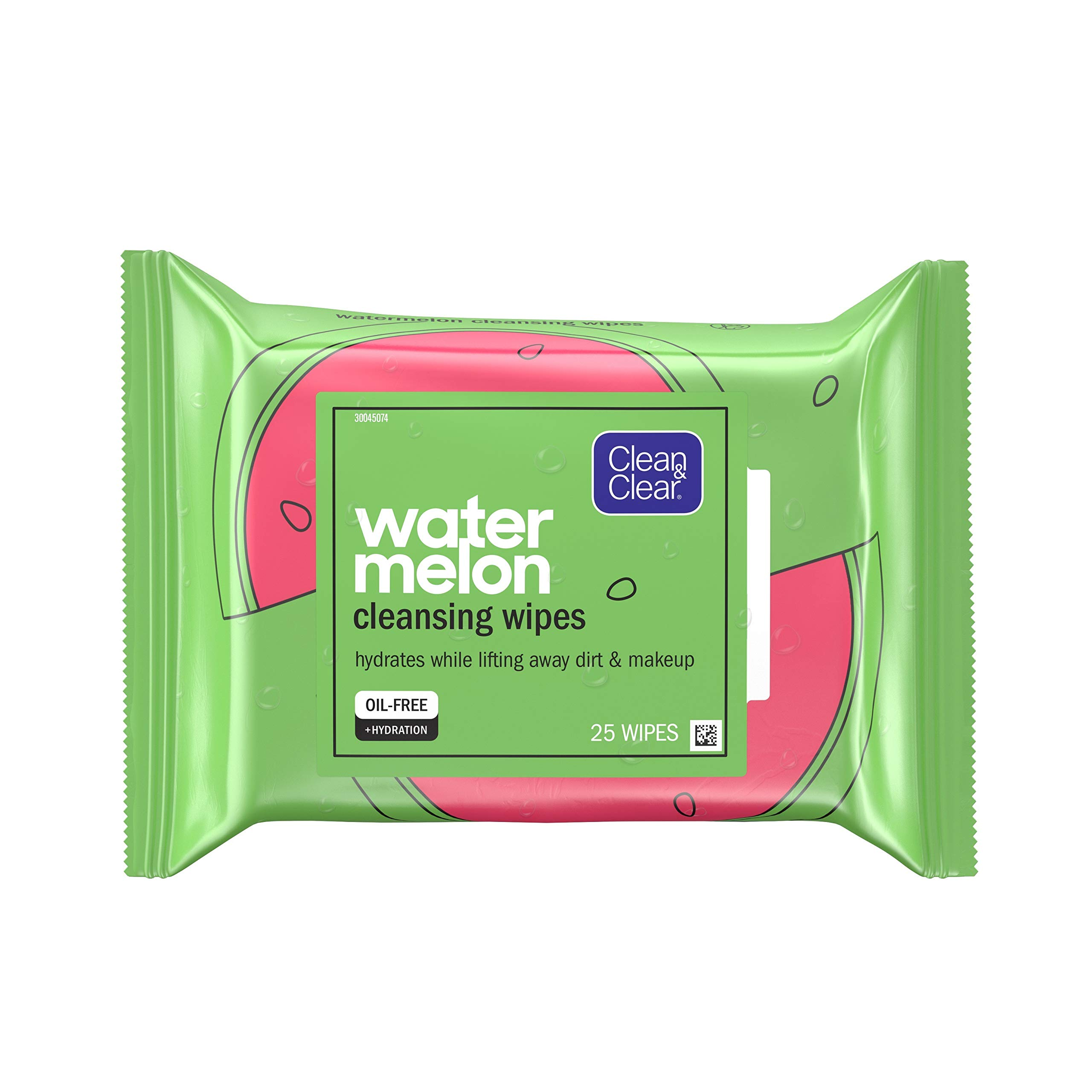 Clean & Clear Hydrating Watermelon Facial Cleansing Wipes to Remove Makeup, Dirt & Impurities, Oil-Free Pre-Moistened Daily Face Wipes, Convenient & Travel-Friendly, 25 ct