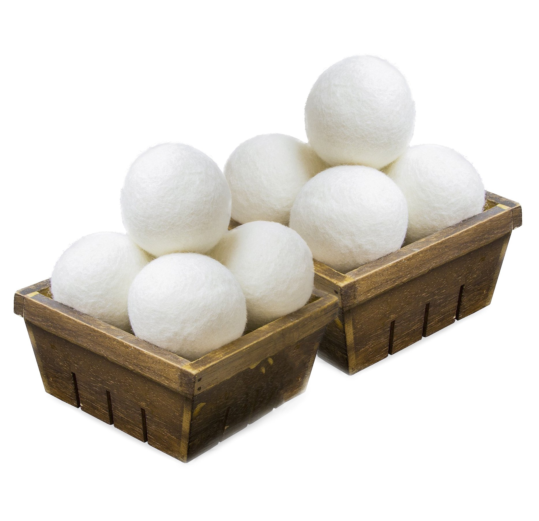 SnugPad Wool Dryer Balls Premium Natural Fabric Softener and 100% Organic, Chemical Free and Reduces Wrinkles. Saving Electricity and Drying Time XL Size 8 Pack White 8 Count