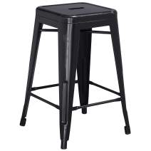 Flash Furniture 24'' High Backless Distressed Black Metal Indoor-Outdoor Counter Height Stool