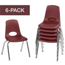 """FDP 14"""" School Stack Chair,Stacking Student Seat with Chromed Steel Legs and Nylon Swivel Glides; for in-Home Learning or Classroom - Burgundy (6-Pack)"""
