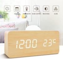 FiBiSonic Office Desk Clock Black Wooden Clock White LED Digital Voice/Touch Control Desk Silent Modern Style Snooze Alarm Clock with Thermometer, Best Gifts for Friends/Families (Bamboo White) …