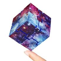 KEEYMENT Infinity Cube Fidget Toy for Kids and Adults Stress Relief Infinity Game, Cool Mini Galaxy Figetget Toys for Anxiety Relief and Kill Time (Galaxy)
