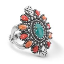 American West Sterling Silver Green Turquoise, Red and Orange Spiny Oyster Gemstone Cluster Ring Size 5 to 10