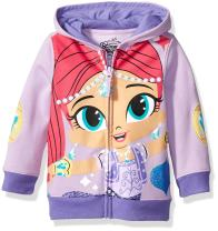 Shimmer and Shine Little Girls' Toddler Character Hoodie, Aqua/Dark Turquoise, 4T