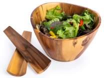 "Casa Bellante 10"" x 6"" Salad Bowl with Utensils"