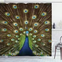 "Ambesonne Peacock Shower Curtain, Portrait of Peacock with Feathers Out Vibrant Colors Birds Summer Garden, Cloth Fabric Bathroom Decor Set with Hooks, 75"" Long, Navy Green"