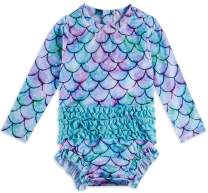 Kids4ever Baby Girl Long Sleeve Swimsuit RuffleOne Piece Swimwear Rash Guard for 3-24 Months