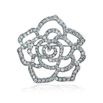 Bling Jewelry Large Rose Flower Shape Open Pave Crystal Wedding Brooch Pin for Women Silver Tone Rhodium Plated Brass