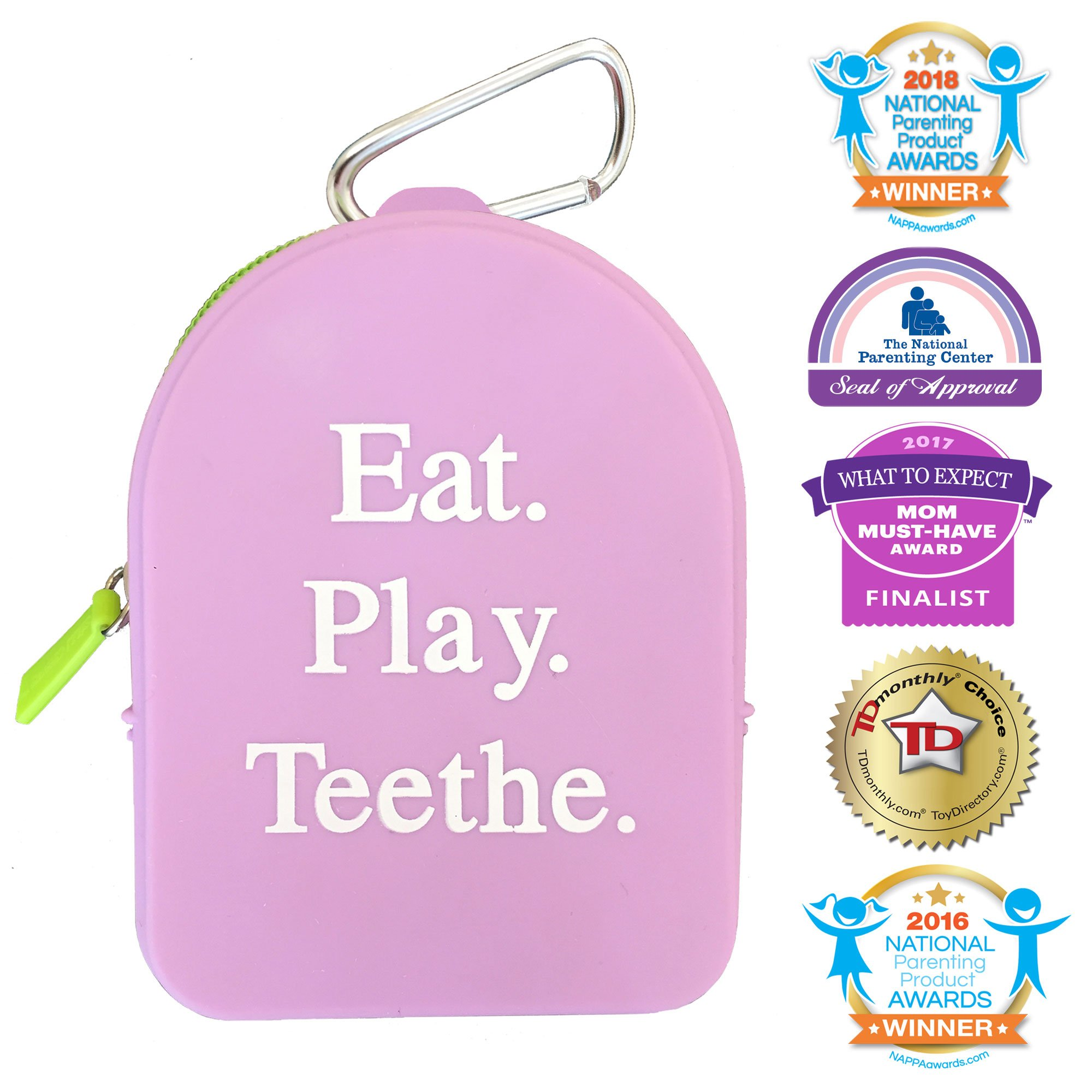 Silli Chews Best Pacifier Clip Holder Case and Teething Toy Storage Tote Bag with Mom Keychain Hook   Grab and Go Baby or Mom Christmas Holiday Stocking Stuffer Gift Purple