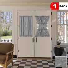 """H.VERSAILTEX Grey Curtains for French Door, Linen Poly Blended Curtain Panels - Light Filtering Solid Rod Pocket Semi Sheer for Glass Door - 52"""" Width by 40"""" Length - Gray - Set of 1"""