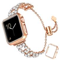 fastgo Bling Band Compatible with Apple Watch 38mm/40mm/42mm/44mm with Case Women, Jewelry Glitter Metal Rhinestone Bracelet Replacement Strap Cover for iWatch SE Series 6/5/4/3/2/1(Rose Gold,42mm)